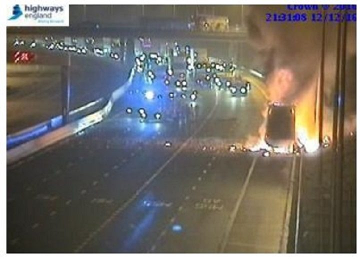 Highways England footage shows the lorry on fire