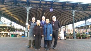 Sam Livesey, Ellen Young, Michael Conlon, Lorraine Norris, chief exec of Preston City Council and Councillor Robert Boswell, cabinet member environment at the Covered Market