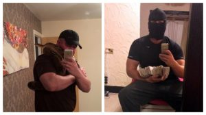 McGrath posing with and SNAKE and a wad of cash in his brothel