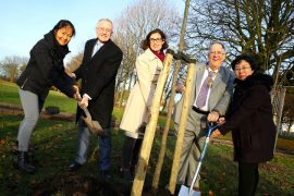 Director of the UCLan Confucius Institute Feixia Yu, Leader of Preston City Council Peter Rankin, Isabel Donnelly, Dean and Director of Business Development and Partnerships at UCLan, Mayor of Preston Councillor John Collins and Confucius Institute Chinese Co-ordinator Ling Gao.