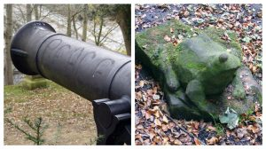 The 'peace' cannon and the frog in Avenham Park