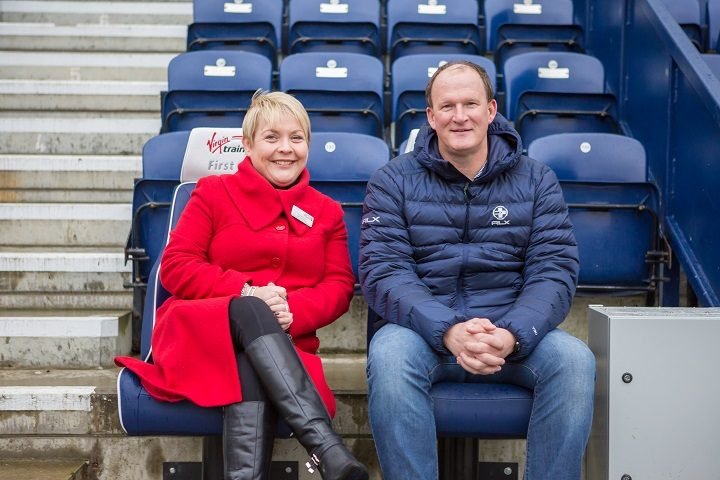Anna Doran and Simon Grayson take in the view