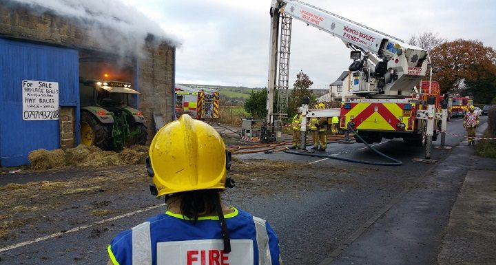 Fire crews work to contain the blaze during Saturday morning Pic: Preston Fire Station