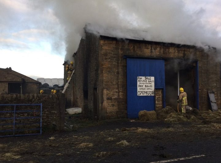 There is extensive damage to the barn Pic: Fylde Fire Station