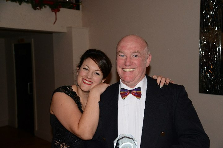 Stuart Hinchley collects his award from chairman Lorna Cleminson
