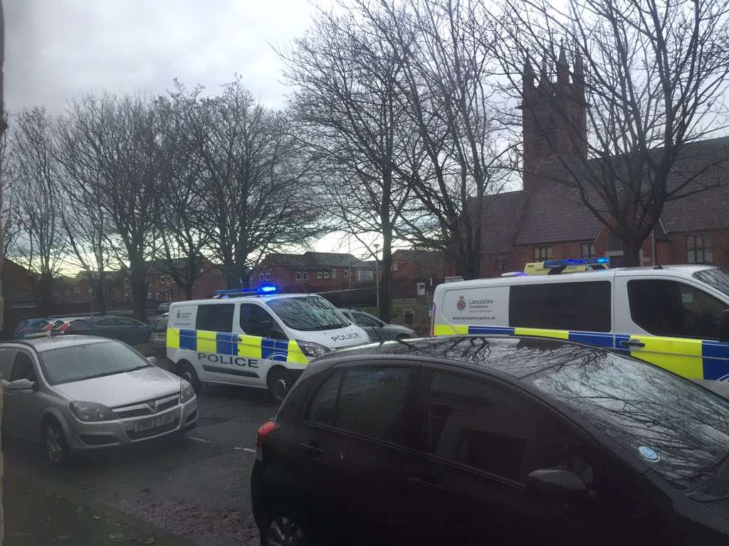 Police near the community centre in Plungington