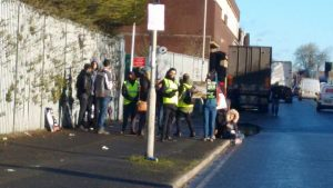 The campaigners gathered in Fletcher Road Pic: Jimmy Fisher