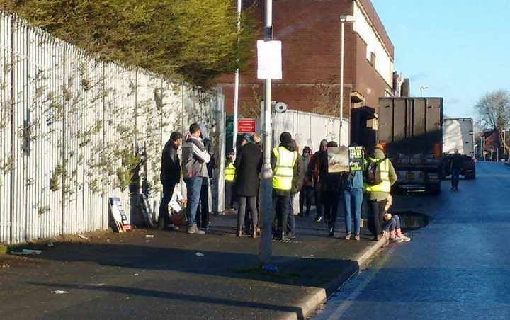 Campaigners outside the Gafoor factory Pic: Jimmy Fisher