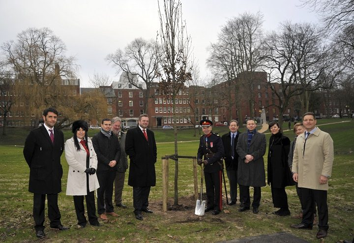 Dignitaries with the new tree in Winckley Square