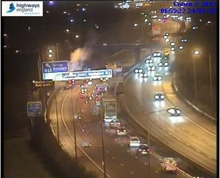 One lane is closed near the M65 junction Pic: Highways England
