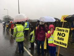 Protesters line the road near the fracking site in Preston New Road Pic: Helen Rimmer