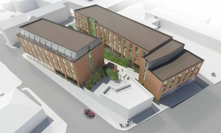 An aerial view of how the new student flats will look
