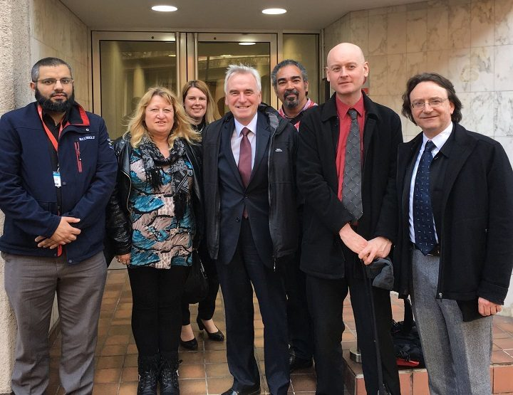 Shadow Chancellor John McDonnell MP visiting employee owned TAS Partnership on Guildhall St – April 2016