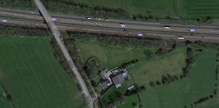 Aerial view of the area near the M55 where the new homes would be Pic: Google