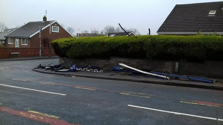 Another view of the bus stop which was hit