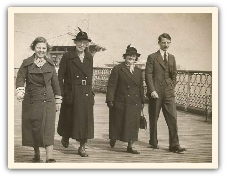 Edith Rigby, second from left, walking on Llandudno Pier Pic: Preston Digital Archive