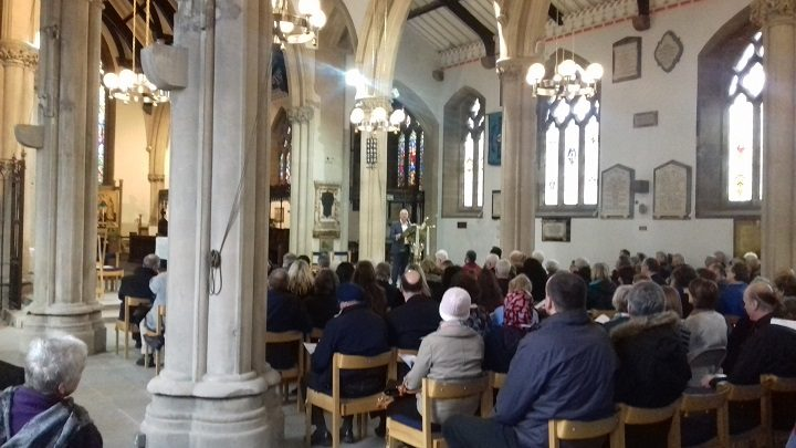 Councillor Peter Rankin opens the City of Sanctuary event at Preston Minster