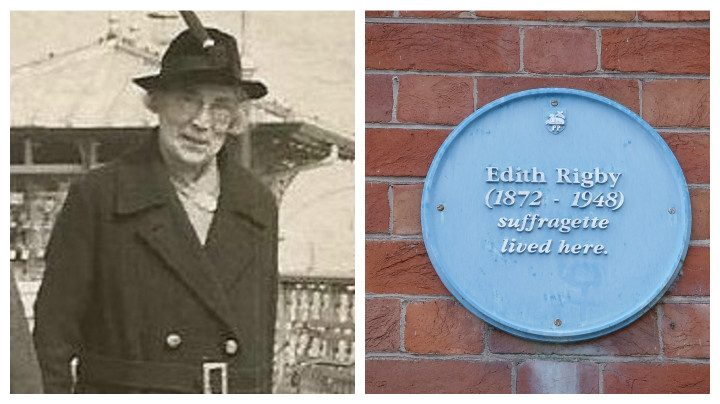 Edith Rigby, pictured left, and the blue plaque to her in Winckley Square Pic: Preston Digital Archive/Tony Worrall