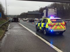 Police on the scene of M6 crash Pic: Lancashire Road Police