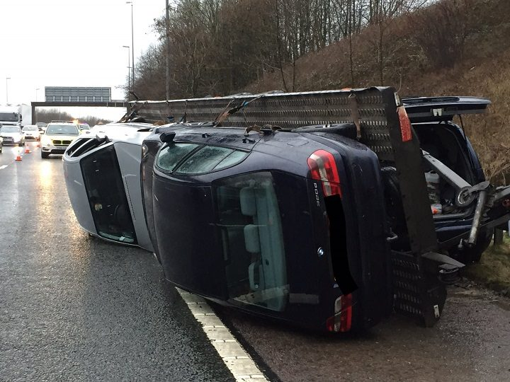 The transporter may have been towing overweight Pic: Lancashire Road Police