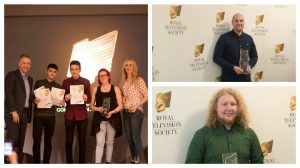 From left to right clockwise: Comedy and Entertainment winners Jake River Parker, Yousef Thami, Liberty Shaw and Heather Davenport receiving their award from BBC news presenter Roger Johnson, Ashley Collier with his award and Jake Blakeston