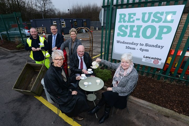 ouncillors and waste management staff try out some of the handy items on sale at the reuse shop. At the table (L-R) Louise Taylor, corporate director for operations and delivery, CC Jenny Mein, leader of Lancashire County Council, CC Marcus Johnstone, cabinet member for environment, planning, and cultural services