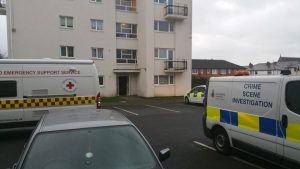 Emergency service vehicles at the flats in Samuel Street Pic: Preston Fire Station