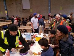 The kitchen for the homeless in full flow