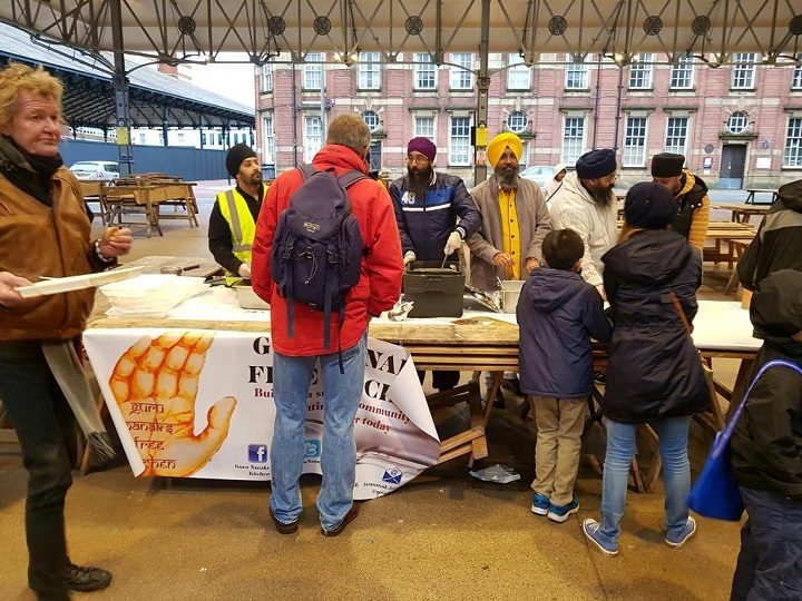 Those in need were given water, fruit and hot food during the event