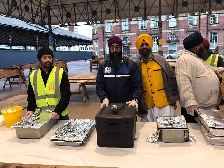 Some of the volunteers at the Sikh kitchen