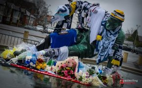 Tributes left to Sir Tom Finney at the Splash statue at Deepdale in February 2014 Pic: Paul Melling