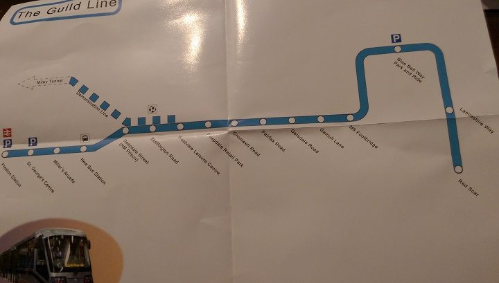 A potential route for the tram line in Preston