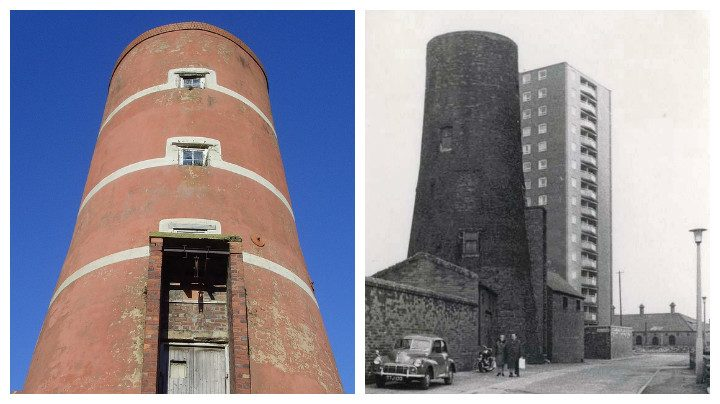 The windmill now and as seen in 1965 alongside the former Moor Lane flats Pic: Tony Worrall/ Preston Digital Archive