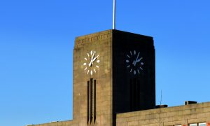 The art deco clock tower at the Docks Pic: Tony Worrall