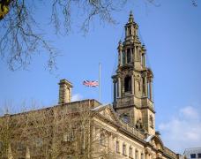 Union flag at half mast in Preston Pic: Paul Melling