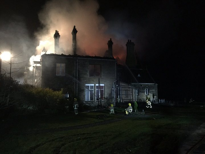 Firefighters tackling the blaze at Alston Hall