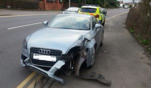 The front of the Audi has sustained damage Pic: Lancs Road Police