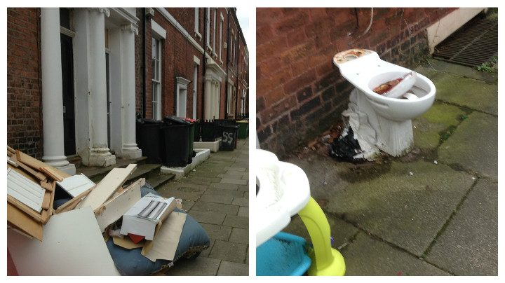 Toilet And Contents Of A House Left Strewn In Avenham
