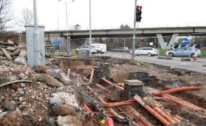 Work at the Broughton roundabout