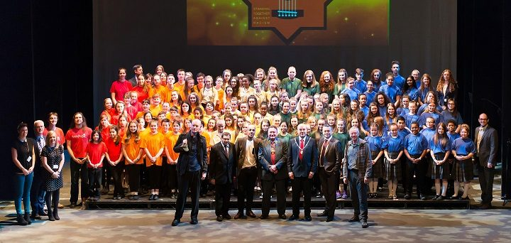 The choir pictured at last year's event is made up of pupils from choirs across the city