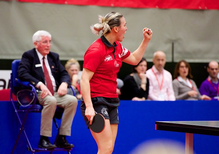 Kelly Sibley punches the air during the last England game at UCLan