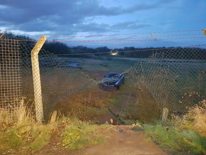 The Nissan was recovered on Friday night Pic: LancsRoadPolice