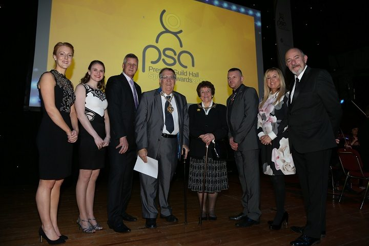 Nicola White MBE, Stephanie Slater MBE, Peter Mason BEM (Preston Sports Forum), The Right Worshipful the Mayor of Preston Councillor John Collins and Mayoress Mrs Mary Brade, Steve Daley, Janet Walker (Guild Hall), Paul Crone