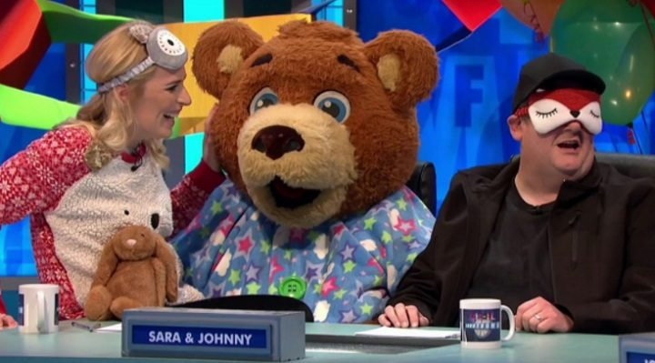Sunshine Bear alongside Johnny Vegas and Sara Pascoe