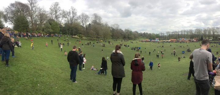 Wide view of the Easter Egg rolling in Avenham Park