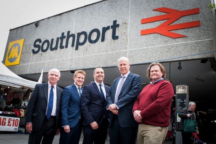 Transport Minister Chris Grayling (fourth left) at Southport train station with (from left): Southport councillor Harry Bliss, West Lancs councillor Sam Currie, Liverpool City Region metro mayor candidate Tony Caldeira, and Sefton Conservative deputy leader Simon Jamieson. Pic: Tarleton Photography