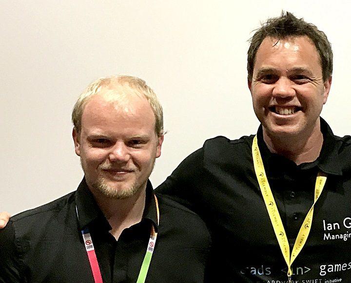 UCLan's Kyle Hobdey with Ian Goodall, managing director of Aardvark Swift.