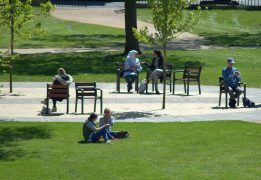 Sunseekers enjoying the rays in Winckley Square Pic: Tony Worrall