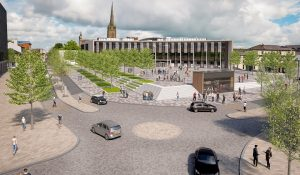 How the new Adelphi roundabout would look, with the new student centre in the background