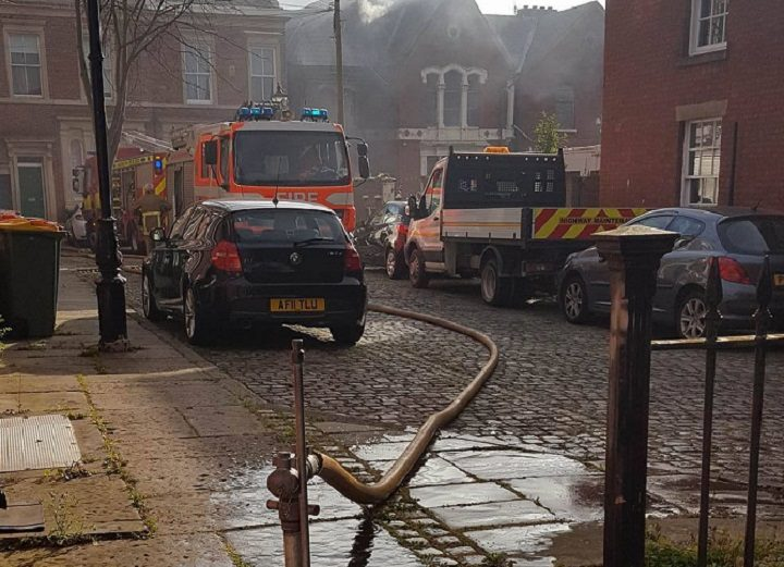 Fire crews dealing with the incident in Avenham Place Pic: Kacper Krol